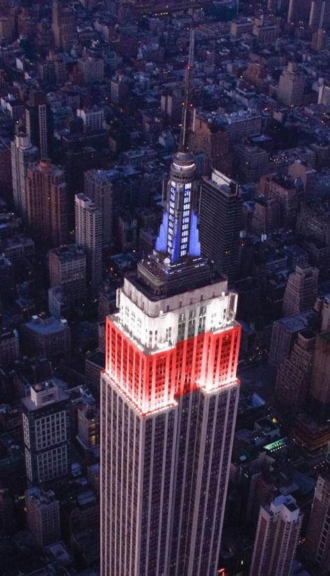 The Empire State Building in red, white and blue, newyorkdailynews